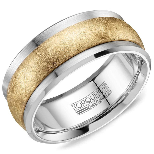Gents Cobalt & Gold Wedding Band w/ Diamond Brushed Yellow Gold Inlay CW115MY9 (9mm)