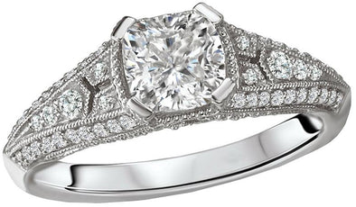 14K Vintage Art Deco Cushion Cut Diamond Engagement Ring