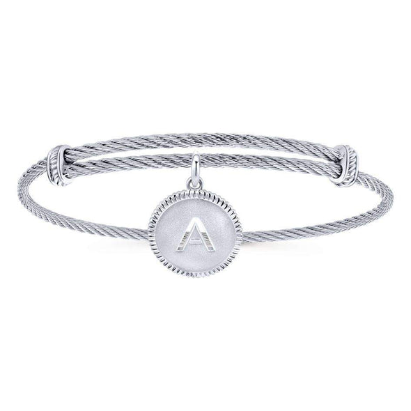 "Gabriel NY 925 Silver/Stainless Steel ""A"" Charm Bangle"