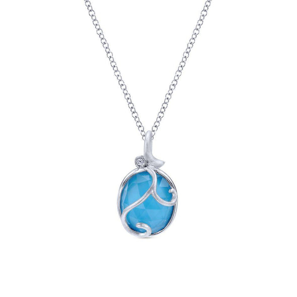 Gabriel NY 925 Silver Oval Turquoise Rock Filigree Necklace