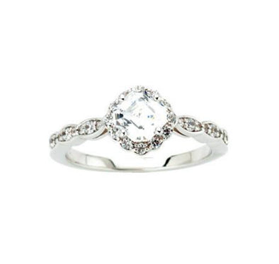 14K White Gold Vintage Scalloped Band Asscher Moissanite and Diamond Halo Engagement Ring