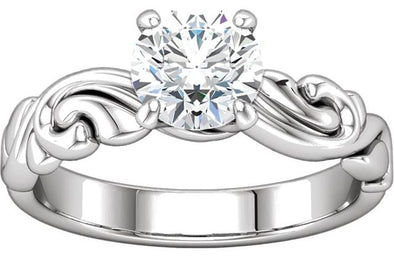 14K Nature Inspired Scroll Detail Solitaire Engagement Ring