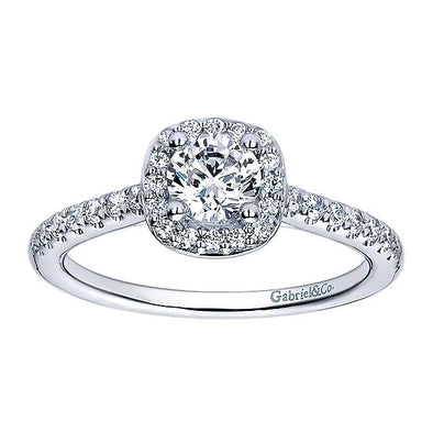 14K White Gold Contemporary Diamond Halo Engagement Ring