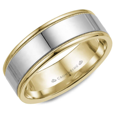 Gents 14K White & YG Wedding Band w/ WG Center & Milgrain Detailing WB-6811 (8mm)
