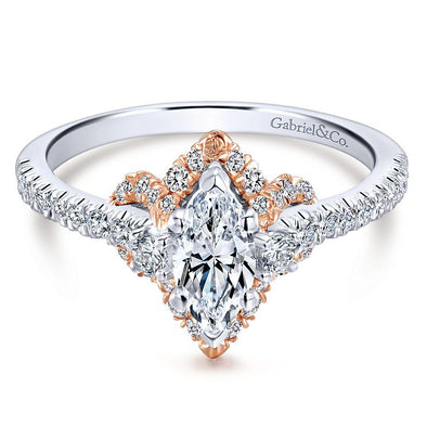 14k 2 Tone Rose Gold DEF Marquise Moissanite & Diamond Halo Engagement Ring NEW