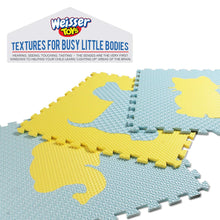 "Kids Puzzle Exercise Play Mat with Textures and Borders - Jumbo Size 73"" x 73"" - Yellow/blue"