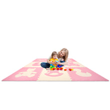 "Kids Puzzle Exercise Play Mat with Textures and Borders - Jumbo Size 73"" x 73"" - Pink/White"