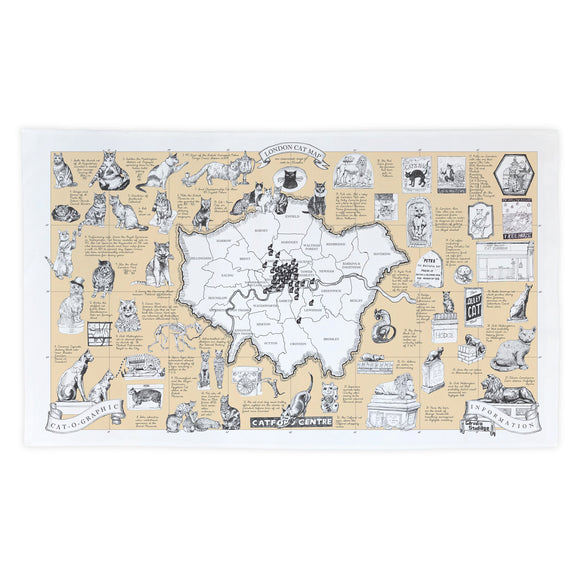 Cats of London map tea towel