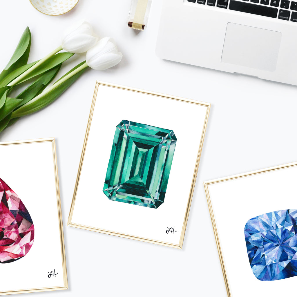 How to Paint Watercolor Diamonds and Gemstones