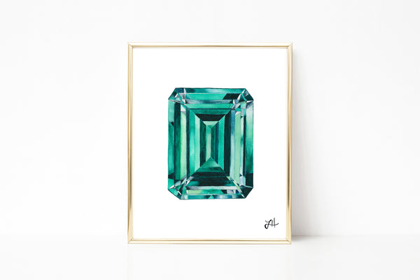 Emerald Gemstone painting, watercolor painting, abstract art