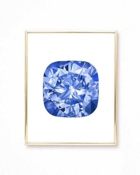 Watercolor Sapphire Painting