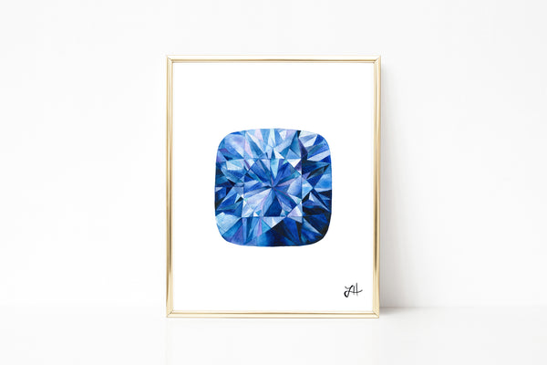 Sapphire gemstone painting, watercolor painting, abstract art