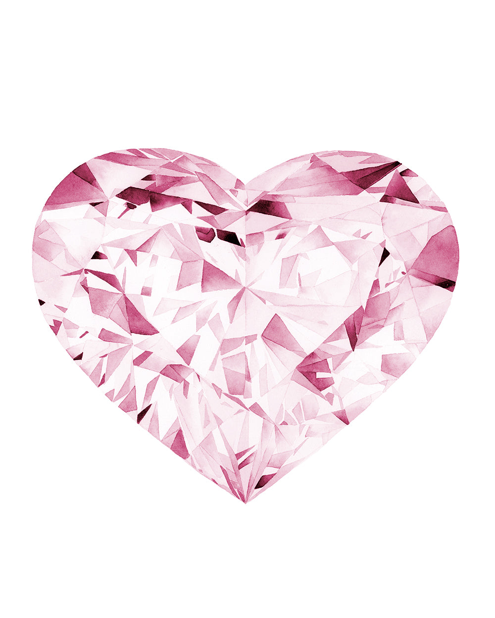 Watercolor Pink Diamond Painting - Heart - Art Print