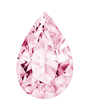 Watercolor Pink Diamond Painting - Pear - Art Print