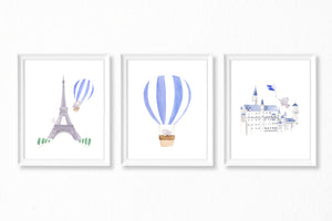 Nursery Watercolor Paintings - 3 Art Prints