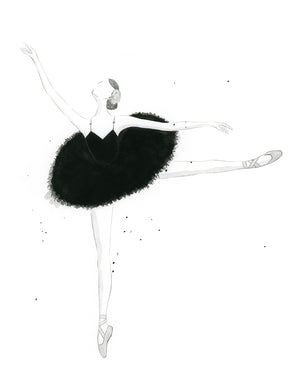 Watercolor Ballerina Painting Black and White - Art Print