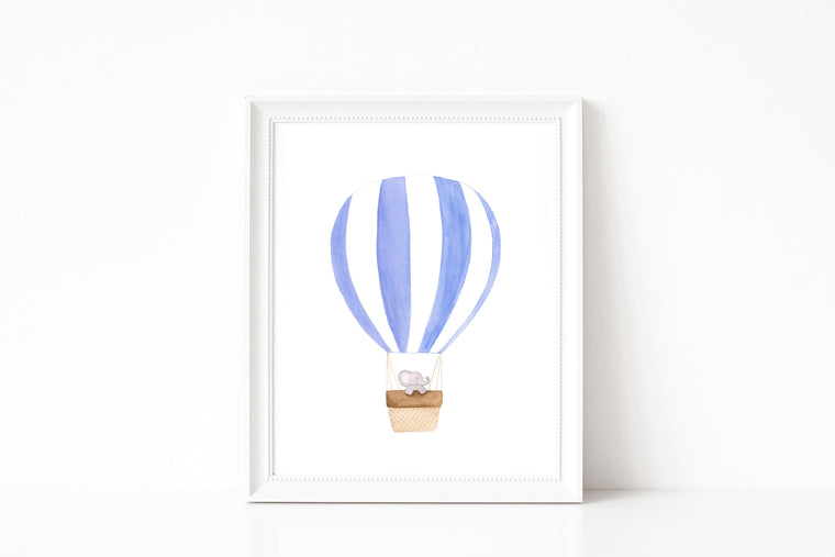 Nursery Watercolor Painting - Baby Elephant Traveling in Hot Air Balloon