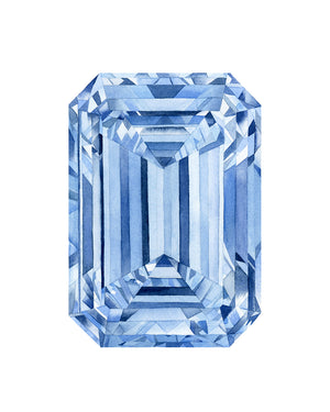 Watercolor Blue Diamond Emerald Cut Painting - Art Print