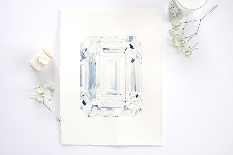 Original Painting - Watercolor Diamond Emerald