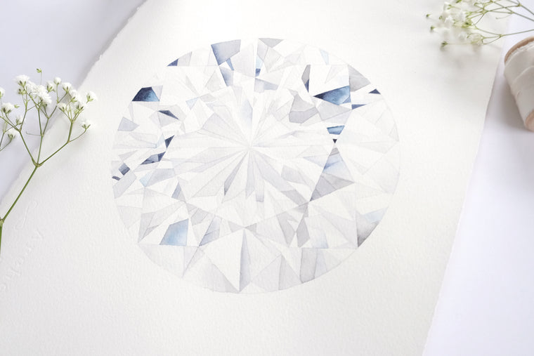 Original Painting - Watercolor Diamond Round