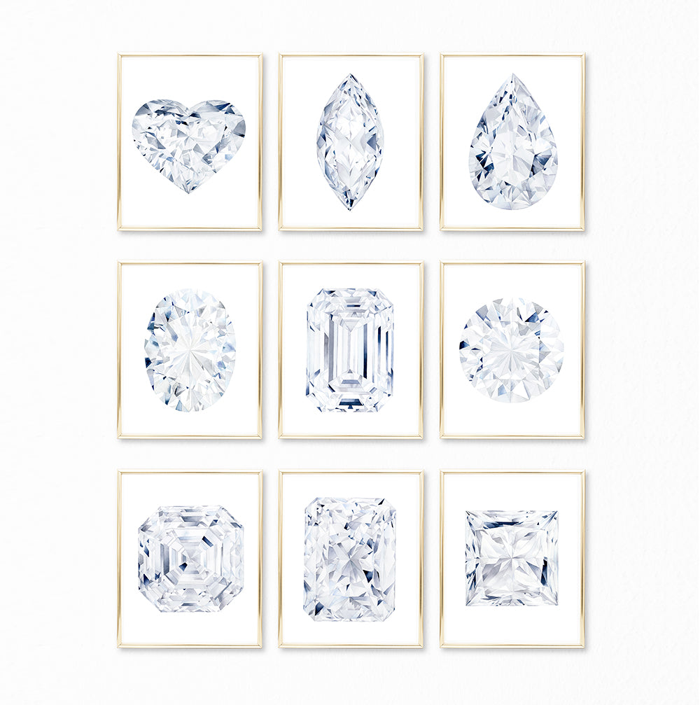 Watercolor Diamond Paintings - Collection of 9 Art Prints