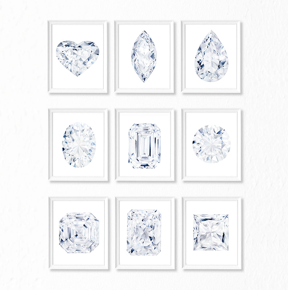 Watercolor Diamond Painting - Marquise Diamond Cut - Art Print