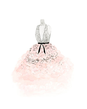 Watercolor Fashion Painting Lace and Tulle Dress - Art Print