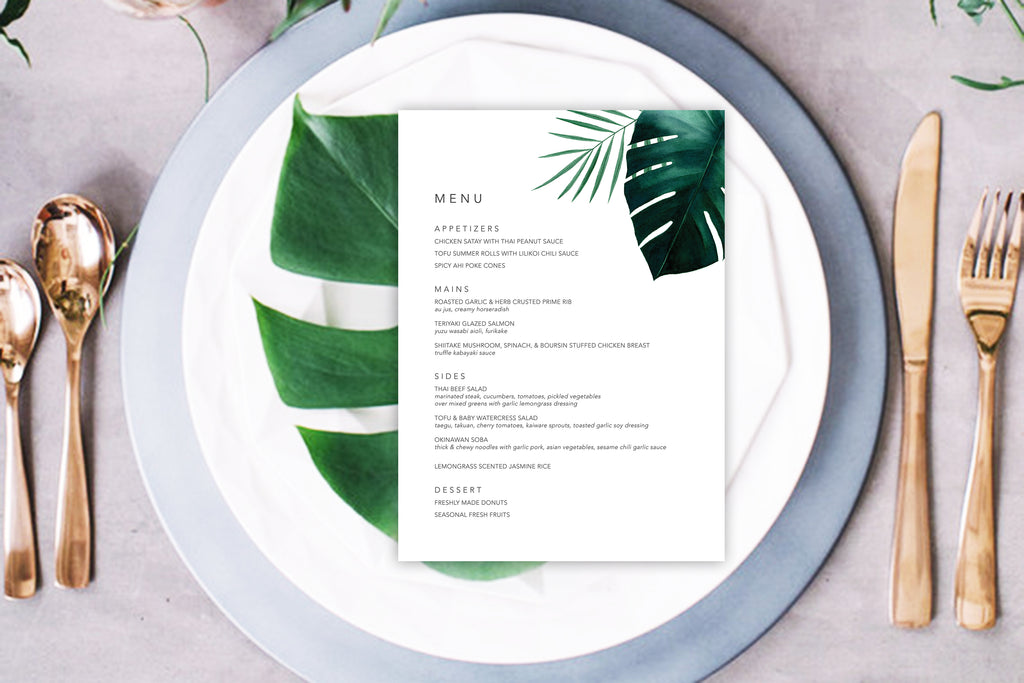 Hawaiian Beach Wedding Menus