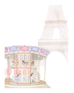Merry-Go-Round in Paris Painting - Art Print