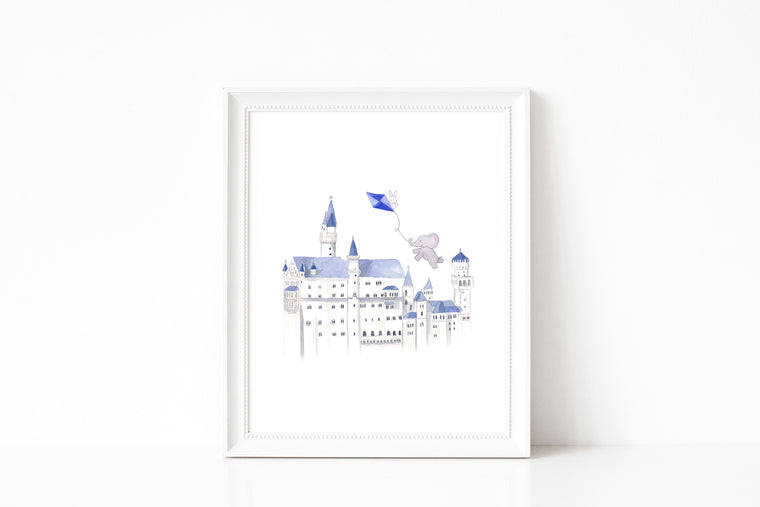 Nursery Watercolor Painting - Baby Elephant Exploring Castle
