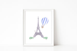 Nursery Watercolor Painting Baby Elephant in Paris - Art Print