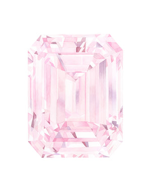Watercolor Diamond Painting - Pink Diamond Emerald Cut - Art Print