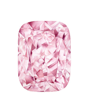 Watercolor Pink Diamond Radiant Cut Painting - Art Print
