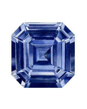 Watercolor Sapphire Asscher Cut Painting - Art Print