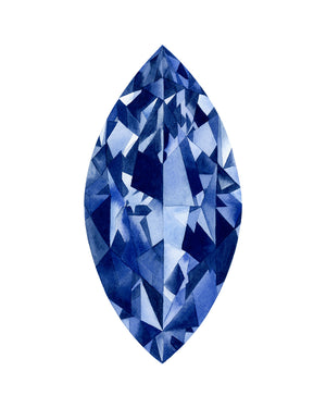 Watercolor Sapphire Marquise Cut Gemstone Painting - Art Print