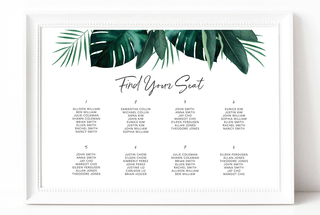 Hawaiian Beach Wedding Seating Chart