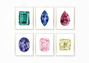 Watercolor Rainbow Gemstone Paintings - Set of 6