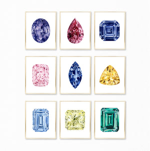 Watercolor Rainbow Gemstone Paintings - Collection of 9 Art Prints