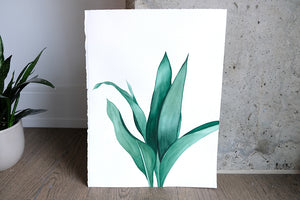 Original Painting - Watercolor Tropical Leaves V 11x15