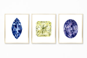 Watercolor Gemstone Paintings - Set of 3 - Sapphire Amethyst Yellow Diamond
