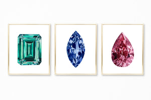 Watercolor Gemstone Paintings - Set of 3 Art Prints