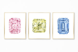 Watercolor Gemstone Paintings - Set of 3 - Pink, Blue, and Yellow Diamond