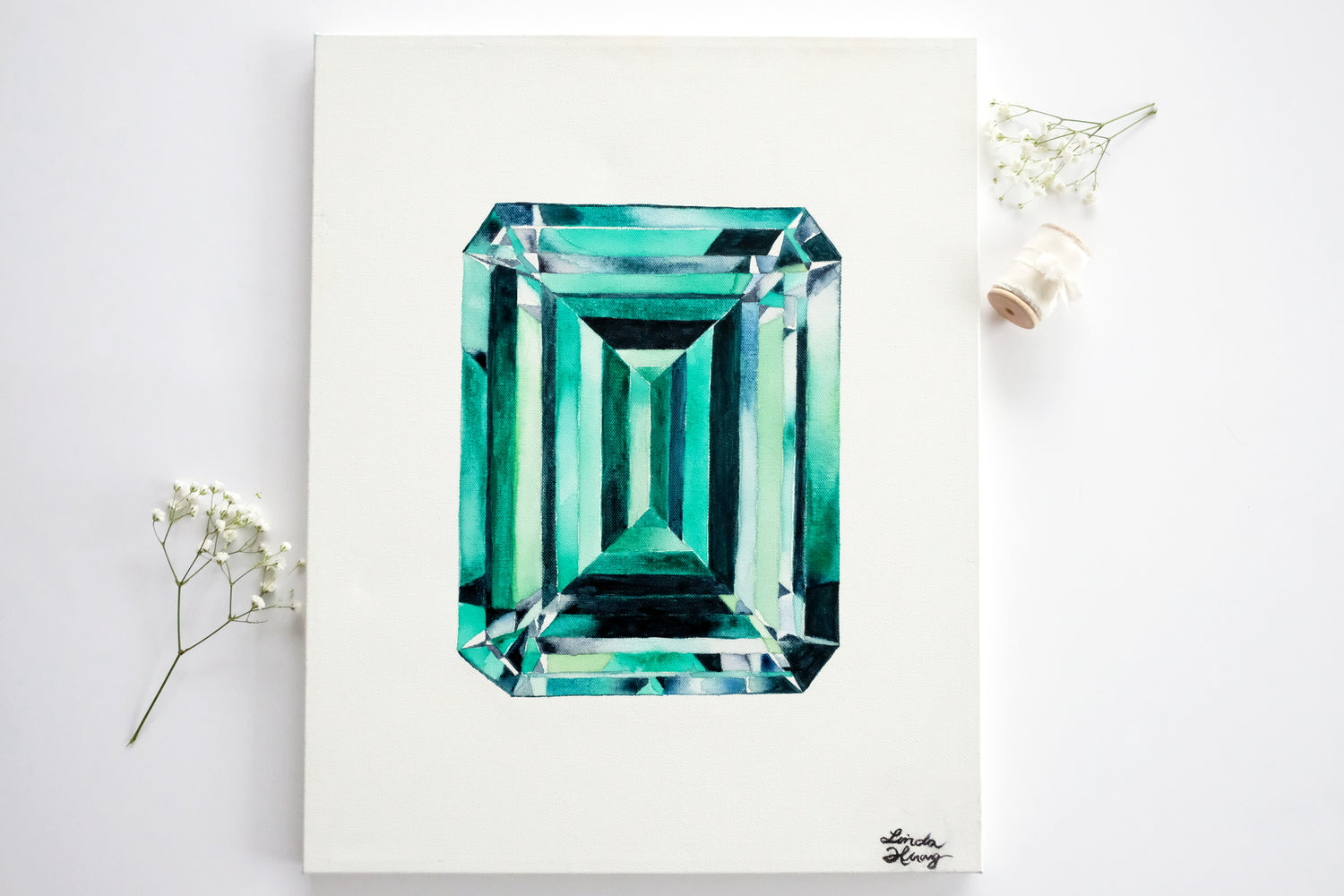 Original Painting - Watercolor Emerald on Canvas