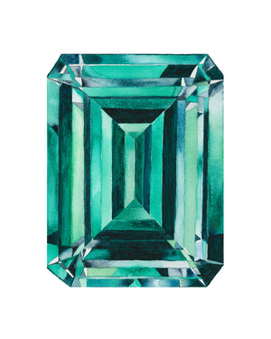 Watercolor Emerald Gem Painting - Emerald Gemstone - Art Print