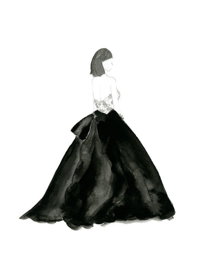 Watercolor Fashion Painting Gown Black and White - Art Print