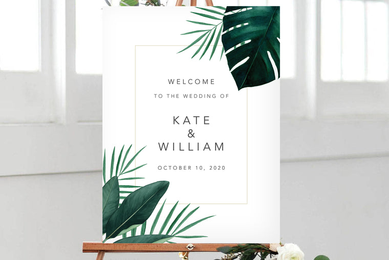 Hawaiian Beach Wedding Welcome Sign