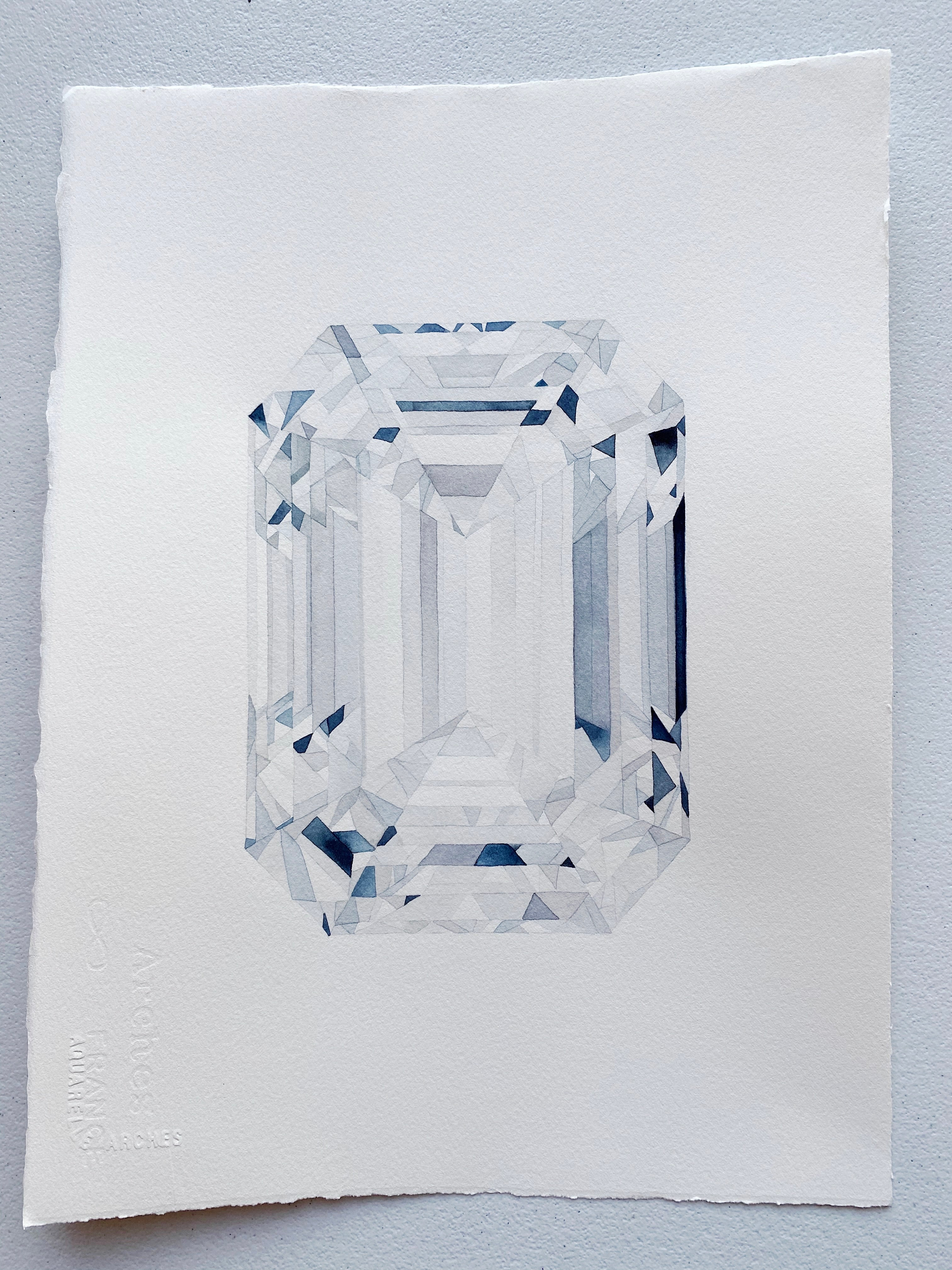Original Painting - Watercolor Emerald Cut Diamond Painting 11x15 inches