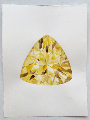 Original Painting - Watercolor Citrine Gem Painting 11x15 inches