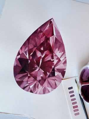 Original Painting - Watercolor Ruby Pear Gem 11x15 inches