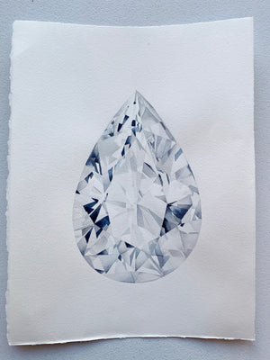 Original Painting - Watercolor Pear Cut Diamond Painting 11x15 inches